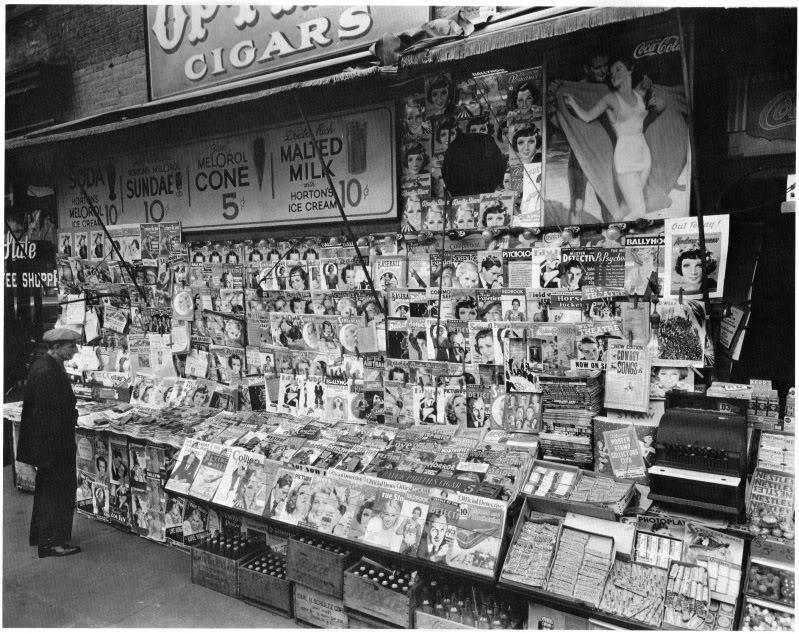 Laikraščių kioskas, 32-os gatvės ir trečiosios aveniu sankryža, New York, 1935, Berenice Abbott